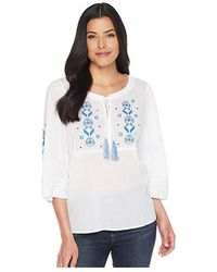 e08bf4b25f96b2 Two By Vince Camuto - Bell Sleeve Embroidered Tie Neck Blouse (ultra White)  Blouse