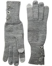 Lauren by Ralph Lauren - Lace-up Touch Gloves With Metal Grommets (medium Gray Heather) Extreme Cold Weather Gloves - Lyst