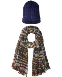 Steve Madden - Pack Me Plaid Two-piece Wrap Beanie - Lyst