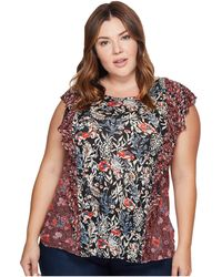 Lucky Brand - Plus Size Mixed Print Ruffle Top - Lyst