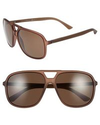 Gucci Women'S 60Mm Aviator Sunglasses - Brown/ Bronze Polar - Lyst