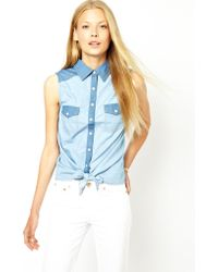 Oasis Contrast Tie Front Shirt - Lyst