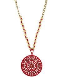 Jessica Simpson - Goldtone Crystal and Bead Pink Circle Pendant Necklace - Lyst