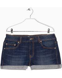 Mango Dark Denim Shorts in Blue   Lyst