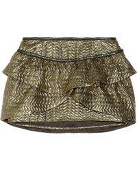 Isabel Marant Bilbao Ruffled Metallic Brocade Mini Skirt - Lyst