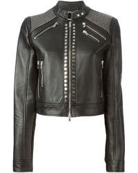 Diesel Black Gold Studded Biker Jacket - Lyst