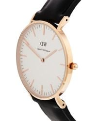 Daniel Wellington Classic Black Sheffield Rose Gold Rim Large Watch - Lyst