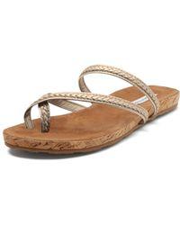 Diane von Furstenberg Adelia Metallic Flat Sandal - Lyst