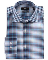 Hugo Boss Miles Sharp Fit Checkered Dress Shirt - Lyst