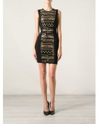 Versus  Chain Print Fitted Dress - Lyst