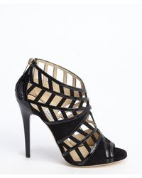 Jimmy Choo Black Suede And Patent Leather Cutout Peep Toe Pumps - Lyst