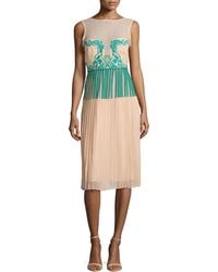 Nicole Miller Jenna Paint And Lace Pleated Dress - Lyst