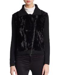 Saks Fifth Avenue Black Label - Faux Fur-paneled Knit Moto Jacket - Lyst