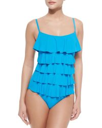 MICHAEL Michael Kors Tiered Ruffled One-Piece Swimsuit - Lyst