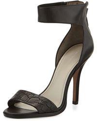 Pour La Victoire Yara Croc-Embossed High-Heel Sandal - Lyst