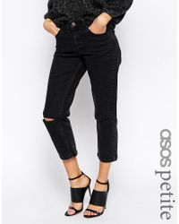 Asos Thea Mid Rise Girlfriend Jeans In Washed Black With Ripped Knees - Lyst