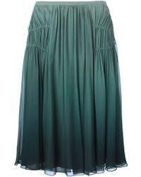Burberry Prorsum Pleated Degradé Skirt green - Lyst