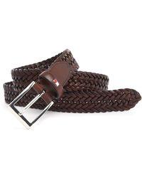 Tommy Hilfiger Almerico Brown Braided Leather Belt - Lyst