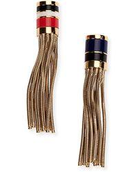 Lanvin - Golden Chain Tassel Clip Earrings - Lyst