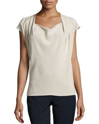 Escada Capped Sleeves Top - Lyst