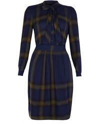 Burberry Brit Navy Plaid Dress - Lyst