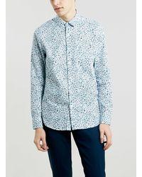 Topman Blue Ditsy Paint Print Long Sleeve Shirt - Lyst