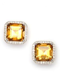 Vendoro - Citrine And Diamond Square Stud Earrings - Lyst