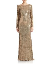 Badgley Mischka Sequined Cowl Back Gown - Lyst