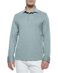 Ermenegildo Zegna Long-Sleeve Pique Polo Shirt - Lyst