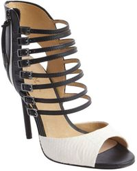 L.A.M.B. Black And White Leather Snake Embossed Strappy 'Larson' Stiletto Sandals - Lyst