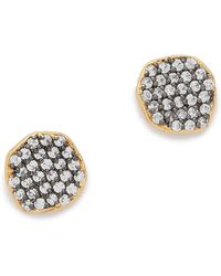 Tai - Cystal Disc Earrings - Clear/gold - Lyst