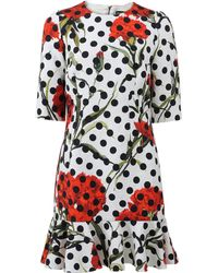 Dolce & Gabbana Floral Dot Dress white - Lyst