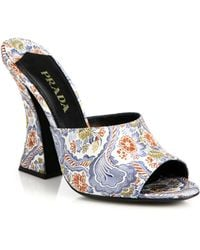 Prada Paisley-Print Silk Mule Sandals - Lyst