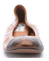 Lanvin Mocha And Bronze Leather Wedge Cap Toe Ballerina Flats brown - Lyst