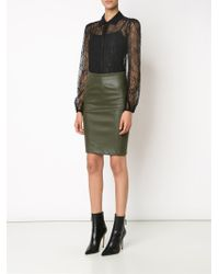 Getting Back to Square One - Leather Pencil Skirt - Lyst