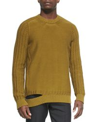 Maison Martin Margiela Crewneck Sweater with Cutout Hem - Lyst