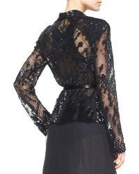 Donna Karan - Belted Long-Sleeve Sequined Jacket - Lyst