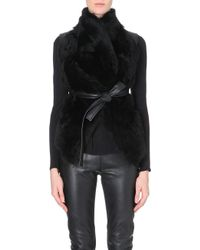 Gareth Pugh Sleeveless Shearling and Leather Top - Lyst