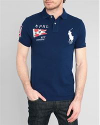 Polo Ralph Lauren Navy Big Pony Flag Slim-Fit Polo Shirt - Lyst