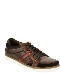 Kenneth Cole Reaction Post Up Leather And Suede Lace-Up Sneakers - Lyst