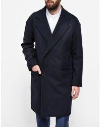 Topman Navy Drop Shoulder Wool Coat - Lyst