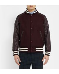 Beams Plus Leather and Wool-blend Bomber Jacket - Lyst