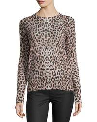 Equipment Sloane Crewneck Leopard-Print Sweater - Lyst