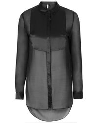 Topshop Silk Bib Shirt - Lyst