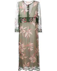 Marni Floral-Print Silk-Blend Dress - Lyst
