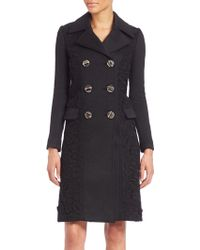 Burberry Prorsum | Paneled Cashmere Double-breasted Coat | Lyst