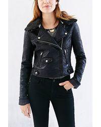 Obey Eddie Sherpa Collar Vegan Leather Moto Jacket - Lyst