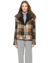 Rodarte Plaid Jacket with Shearling - Black - Lyst