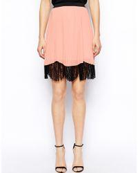 Asos Pleated Midi Skirt With Lace Hem orange - Lyst