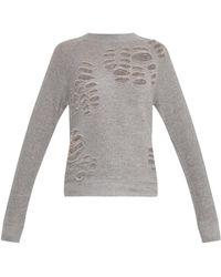 R13 Cutout Cotton-Jersey Sweatshirt - Lyst